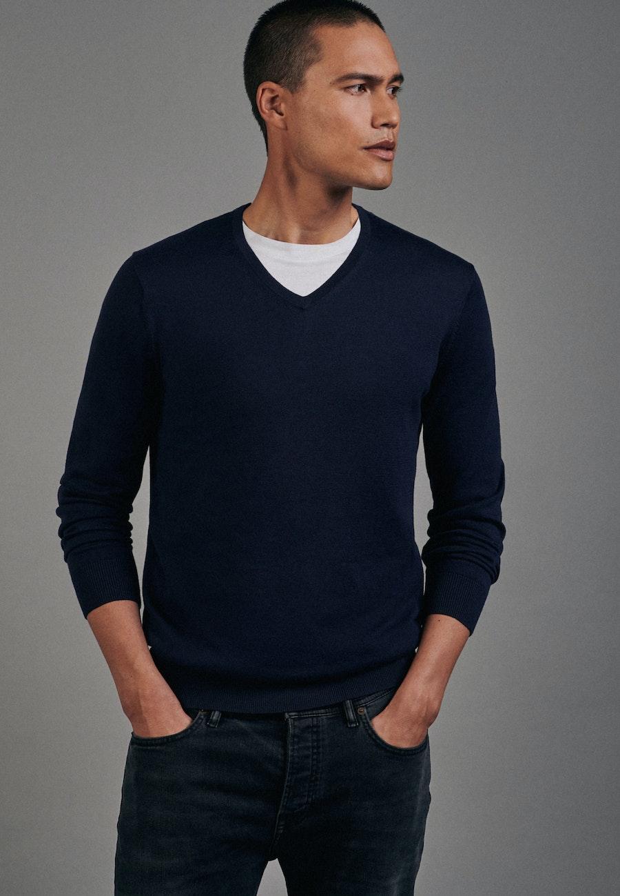 V-Neck Pullover aus 100% Baumwolle in Dunkelblau |  Seidensticker Onlineshop