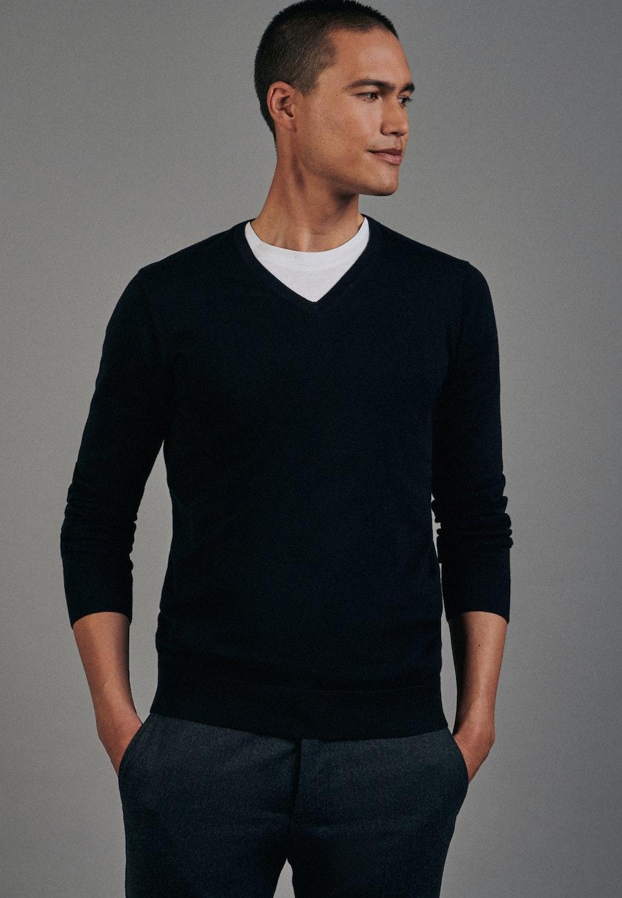 V-Neck Pullover aus 100% Baumwolle in Schwarz    Seidensticker Onlineshop