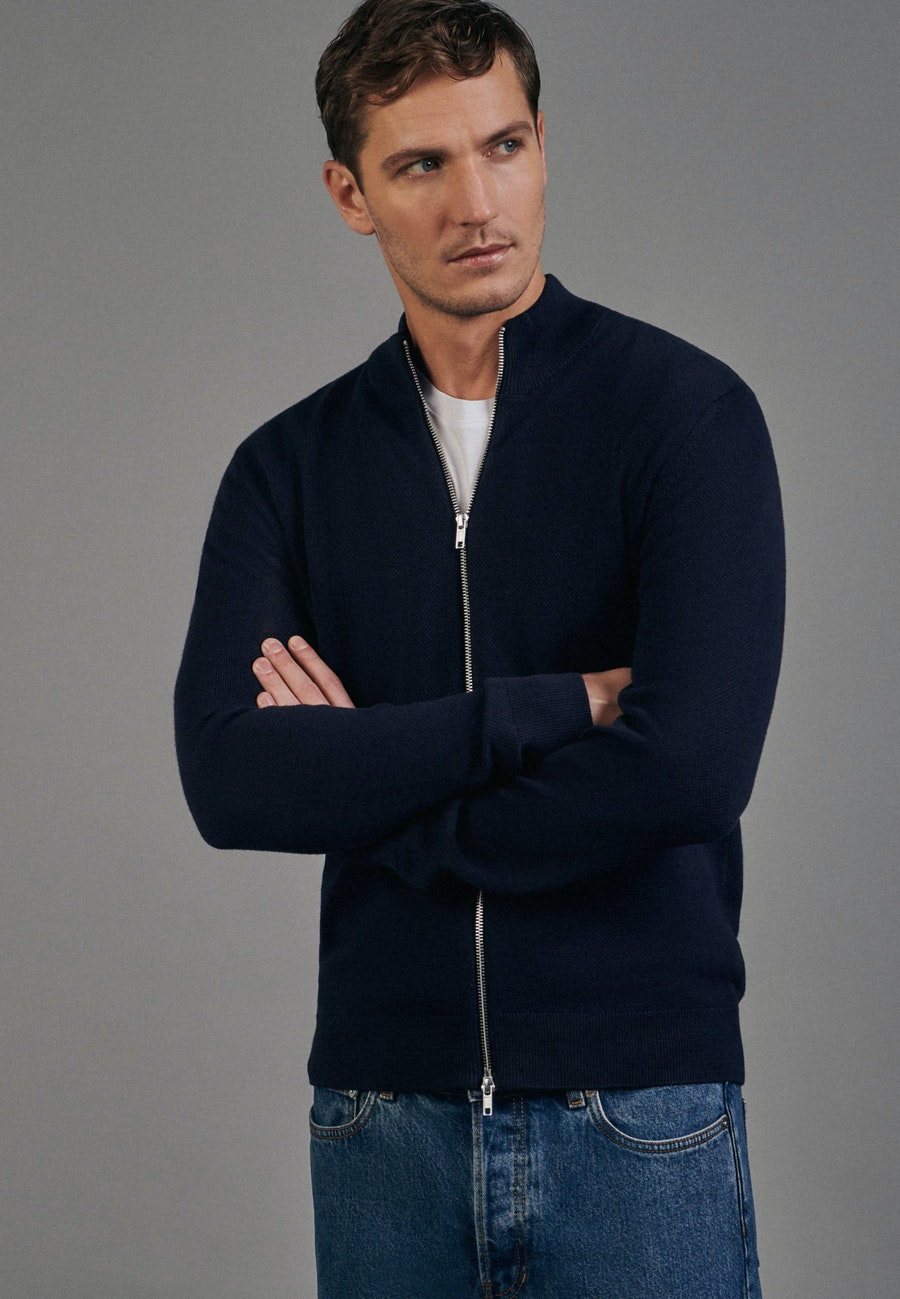 Stand-Up Collar Knit Bomber made of 100% Cotton in Dark blue |  Seidensticker Onlineshop