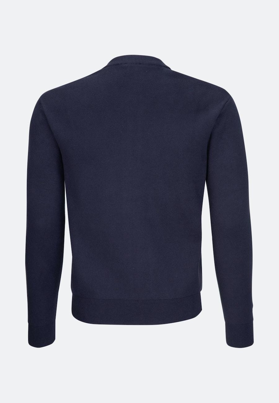 Crew Neck Knit Bomber made of cotton blend in Dark blue |  Seidensticker Onlineshop