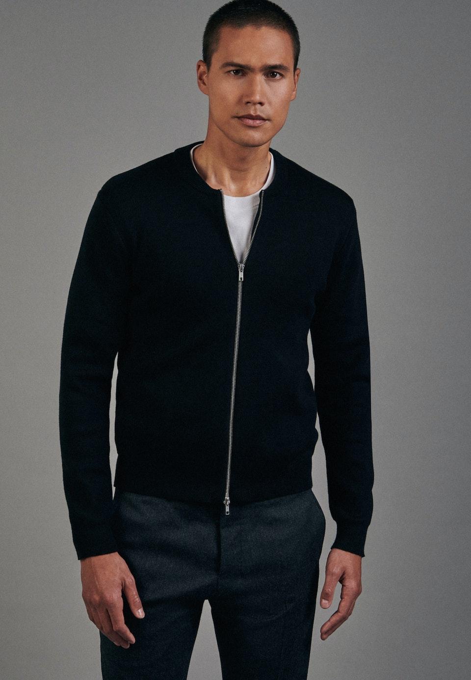 Rundhals Strick-Jacke 100% Baumwolle in Schwarz |  Seidensticker Onlineshop