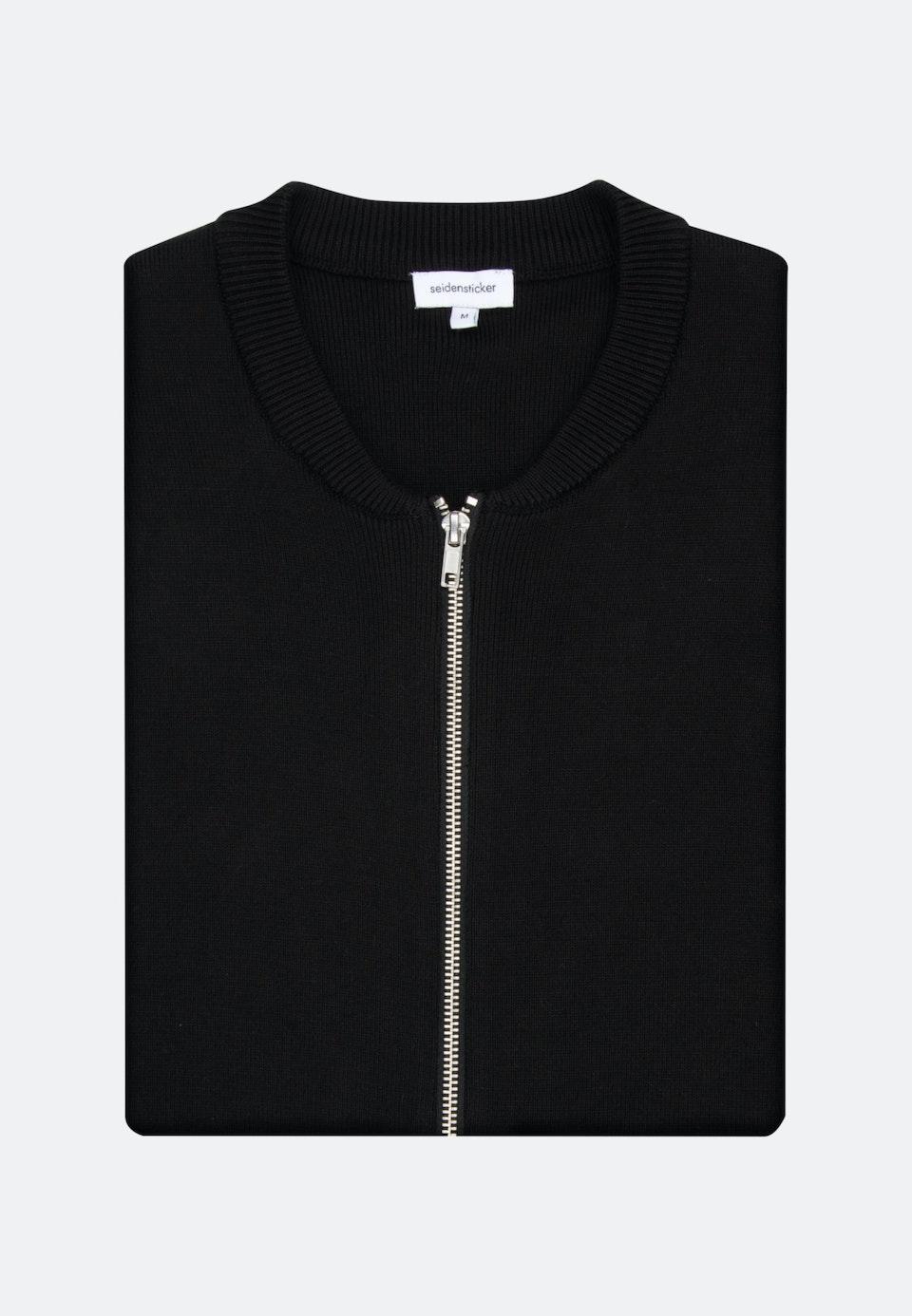 Rundhals Strick-Jacken aus 100% Baumwolle in Schwarz |  Seidensticker Onlineshop