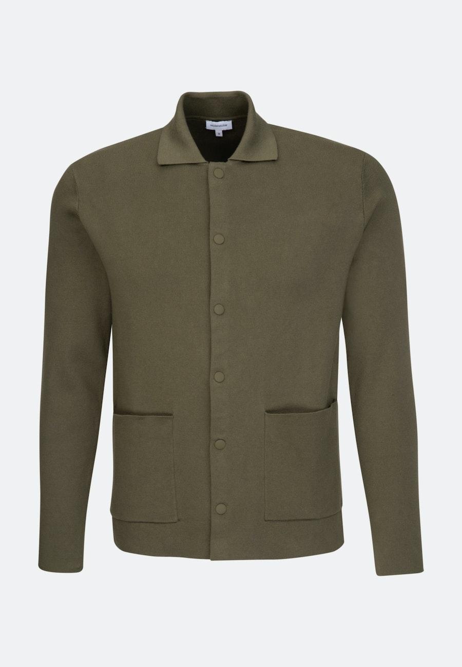Kragen Cardigan aus Baumwollmischung in Grün |  Seidensticker Onlineshop