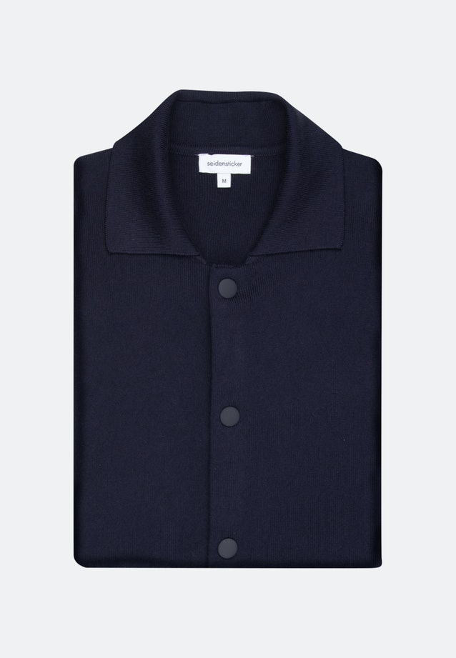 Collar Cardigan made of cotton blend in Dark blue |  Seidensticker Onlineshop