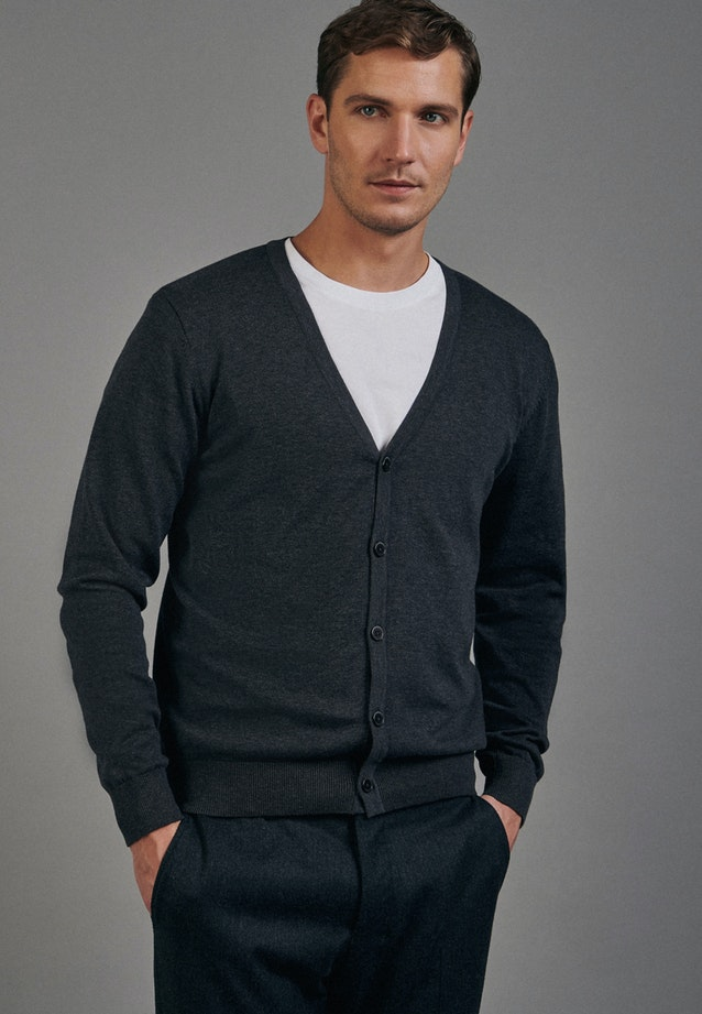 V-Neck Cardigan made of 100% Cotton in Grey |  Seidensticker Onlineshop