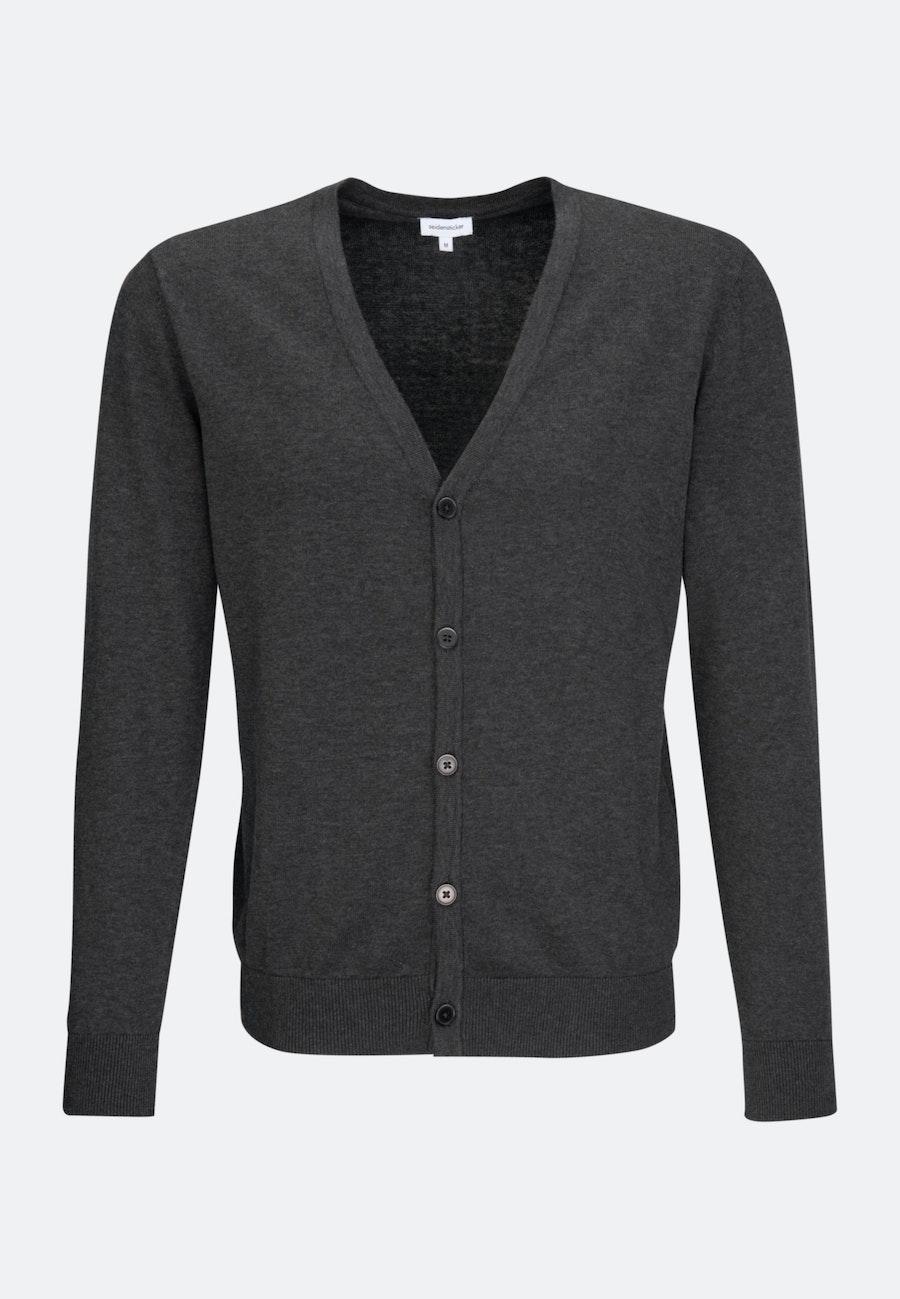 V-Neck Cardigan made of 100% Cotton in Grey    Seidensticker Onlineshop