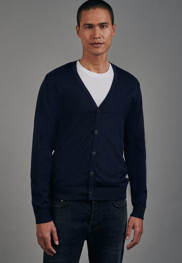 V-Neck Cardigan aus 100% Baumwolle in Dunkelblau |  Seidensticker Onlineshop