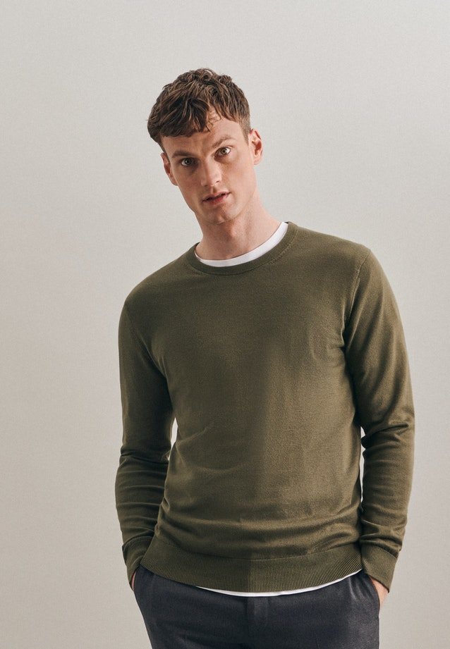 Crew Neck Pullover made of 100% Cotton in Green |  Seidensticker Onlineshop