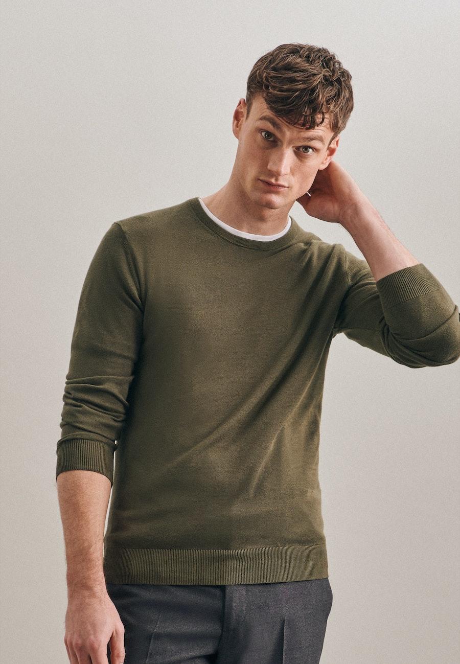 Rundhals Pullover aus 100% Baumwolle in Grün |  Seidensticker Onlineshop