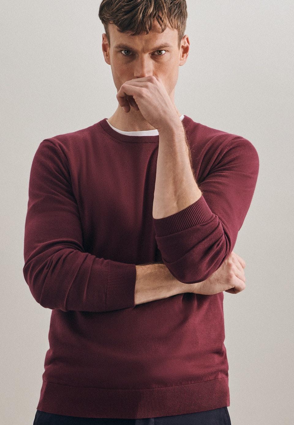 Rundhals Pullover aus 100% Baumwolle in Rot |  Seidensticker Onlineshop