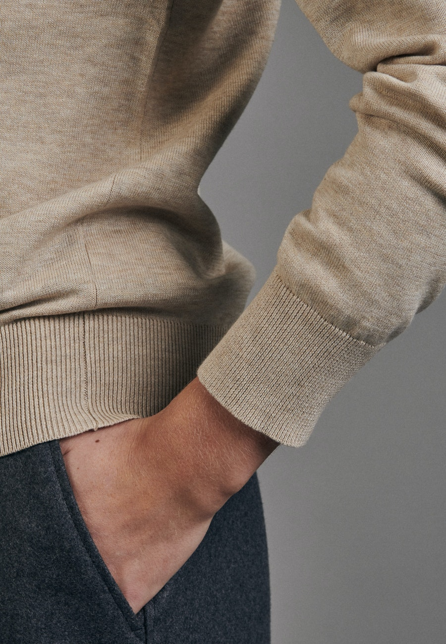 Rundhals Pullover Regular fit aus 100% Baumwolle in Braun |  Seidensticker Onlineshop