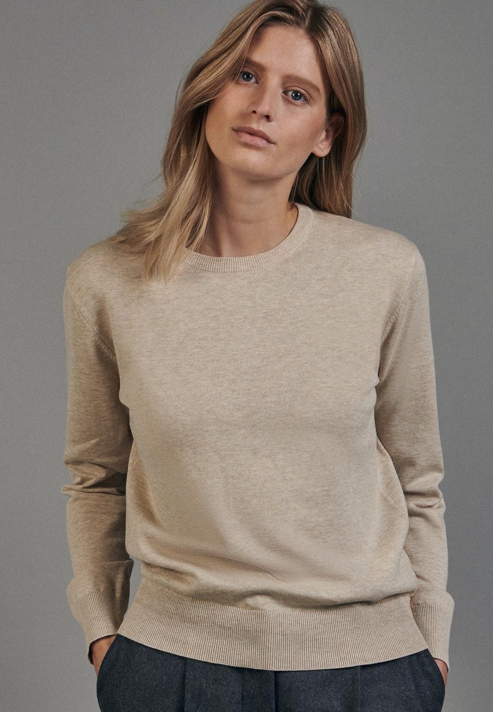 Rundhals Pullover aus 100% Baumwolle in Braun    Seidensticker Onlineshop