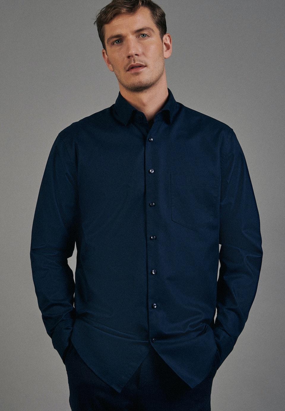 Twill Business Shirt in Regular with Kent-Collar in Dark blue    Seidensticker Onlineshop