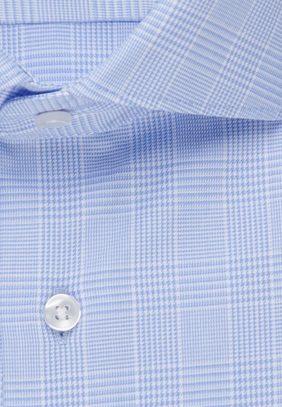 Easy-iron Glencheck Business Shirt in Slim with Kent-Collar in Light blue |  Seidensticker Onlineshop