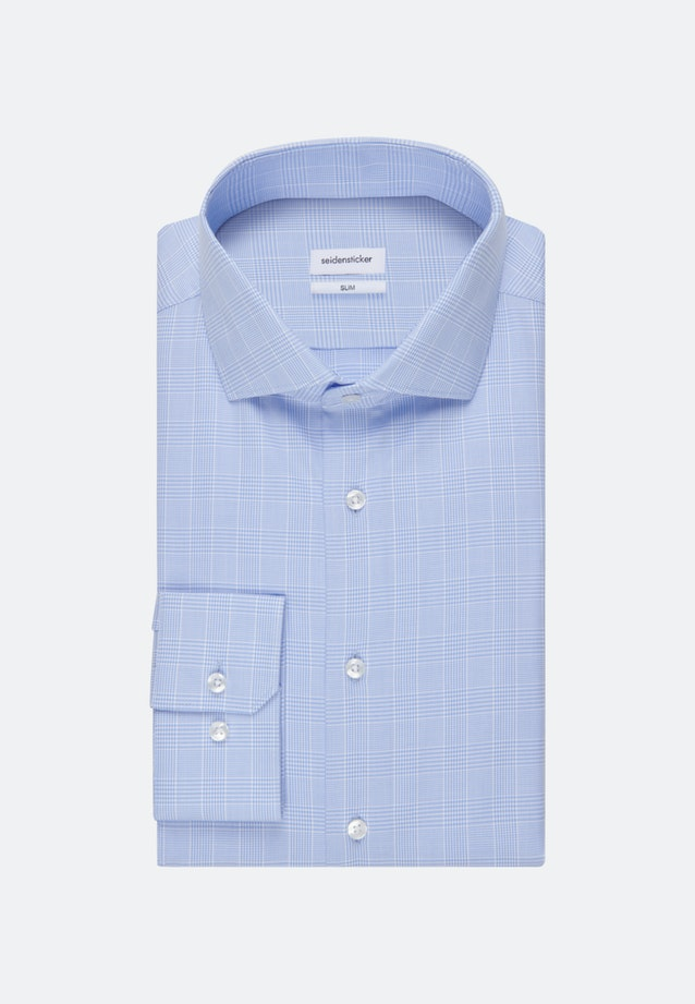 Easy-iron Glencheck Business Shirt in Slim with Kent-Collar in Light blue |  Seidensticker Onlineshop