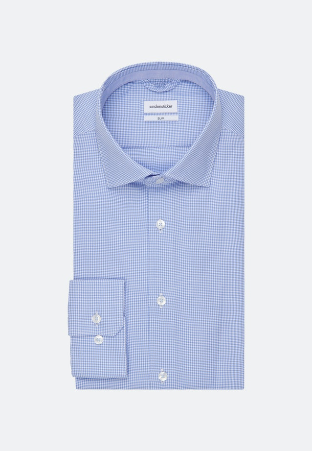 Non-iron Dobby Pepita Business Shirt in Slim with Kent-Collar in Light blue |  Seidensticker Onlineshop