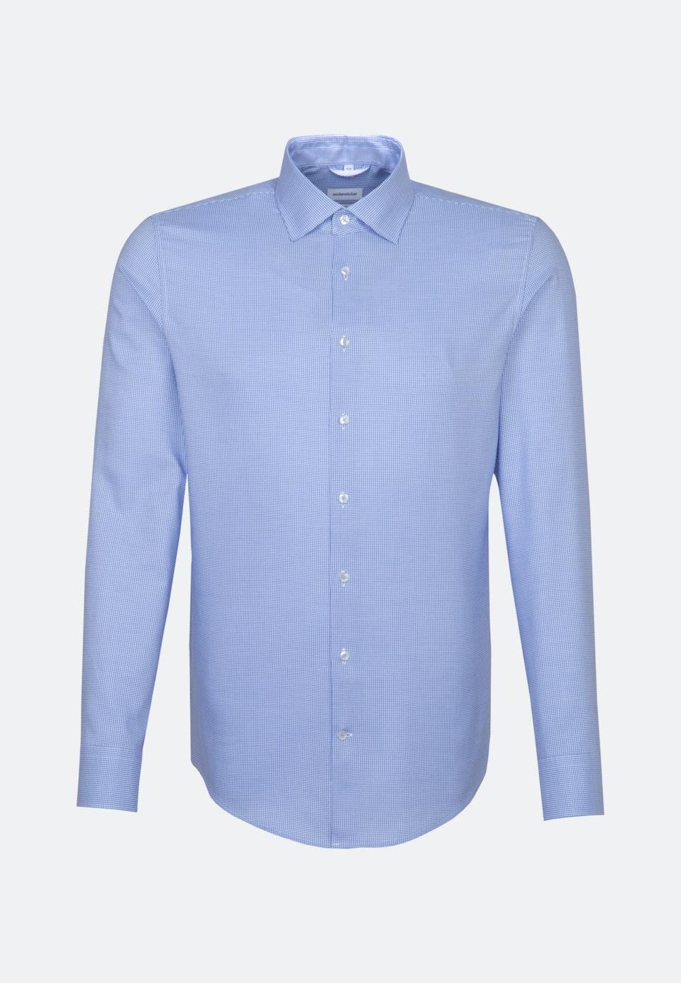 Bügelfreies Dobby Pepita Business Hemd in Slim mit Kentkragen in Hellblau |  Seidensticker Onlineshop