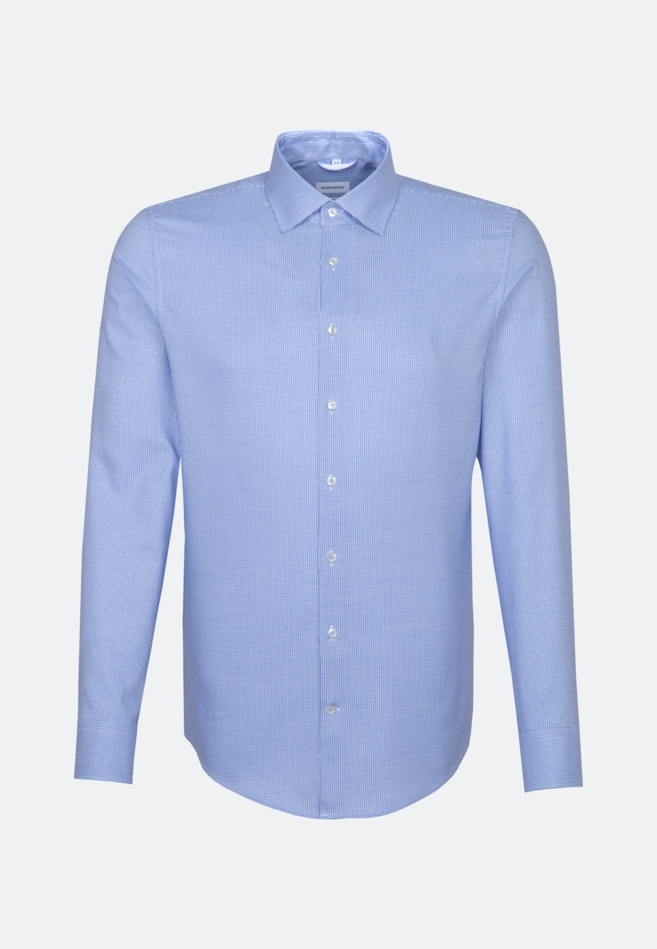 Non-iron Dobby Pepita Business Shirt in Slim with Kent-Collar in Light blue |  Seidensticker Onlineshop