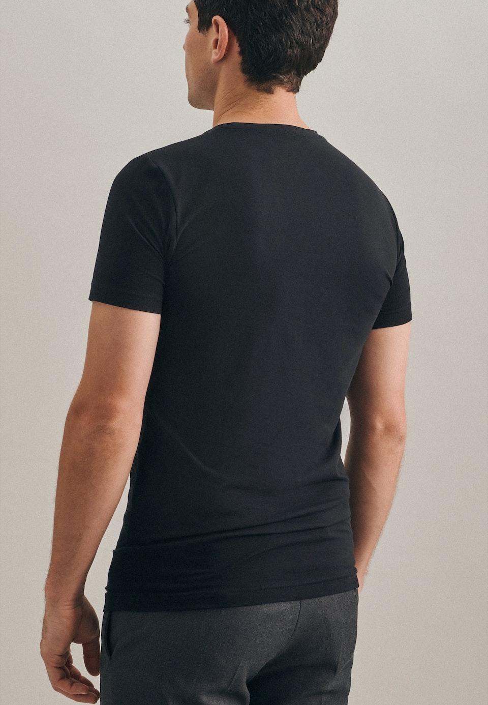 Rundhals T-Shirt aus Baumwollmischung in Schwarz    Seidensticker Onlineshop