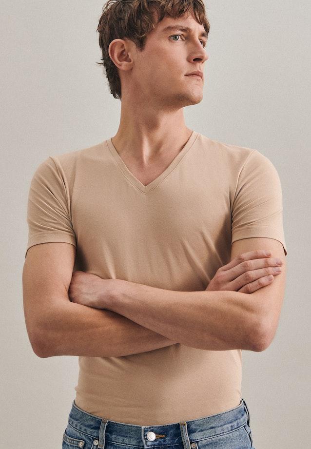 V-Neck T-Shirt aus Baumwollmischung in Braun |  Seidensticker Onlineshop