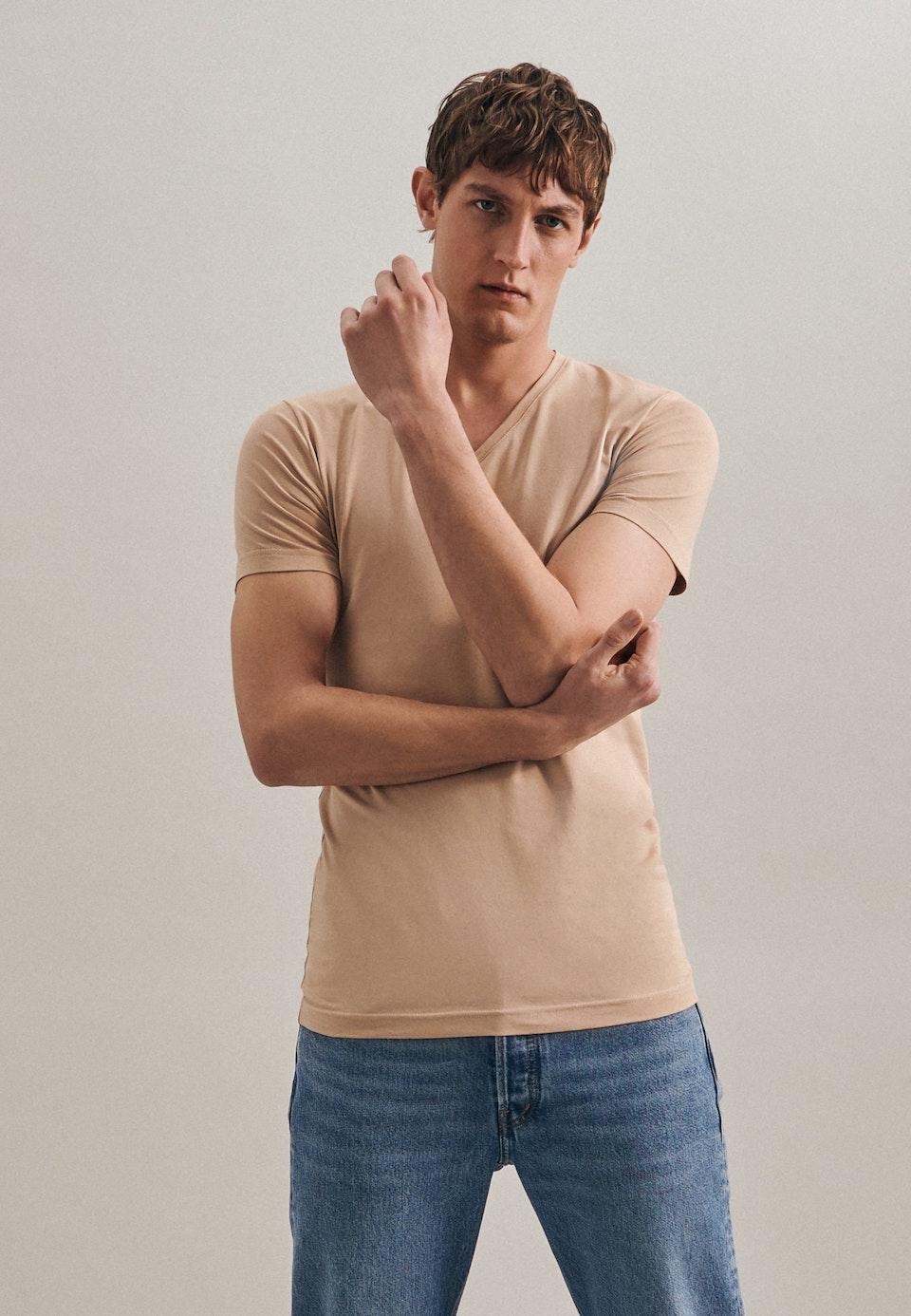V-Neck T-Shirt made of cotton blend in Brown    Seidensticker Onlineshop