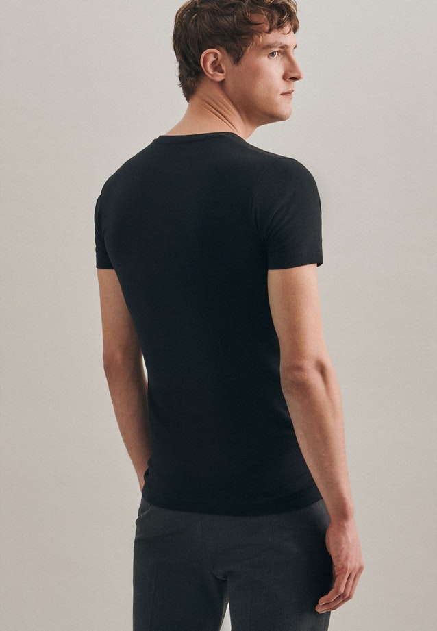 V-Neck T-Shirt made of cotton blend in Black |  Seidensticker Onlineshop