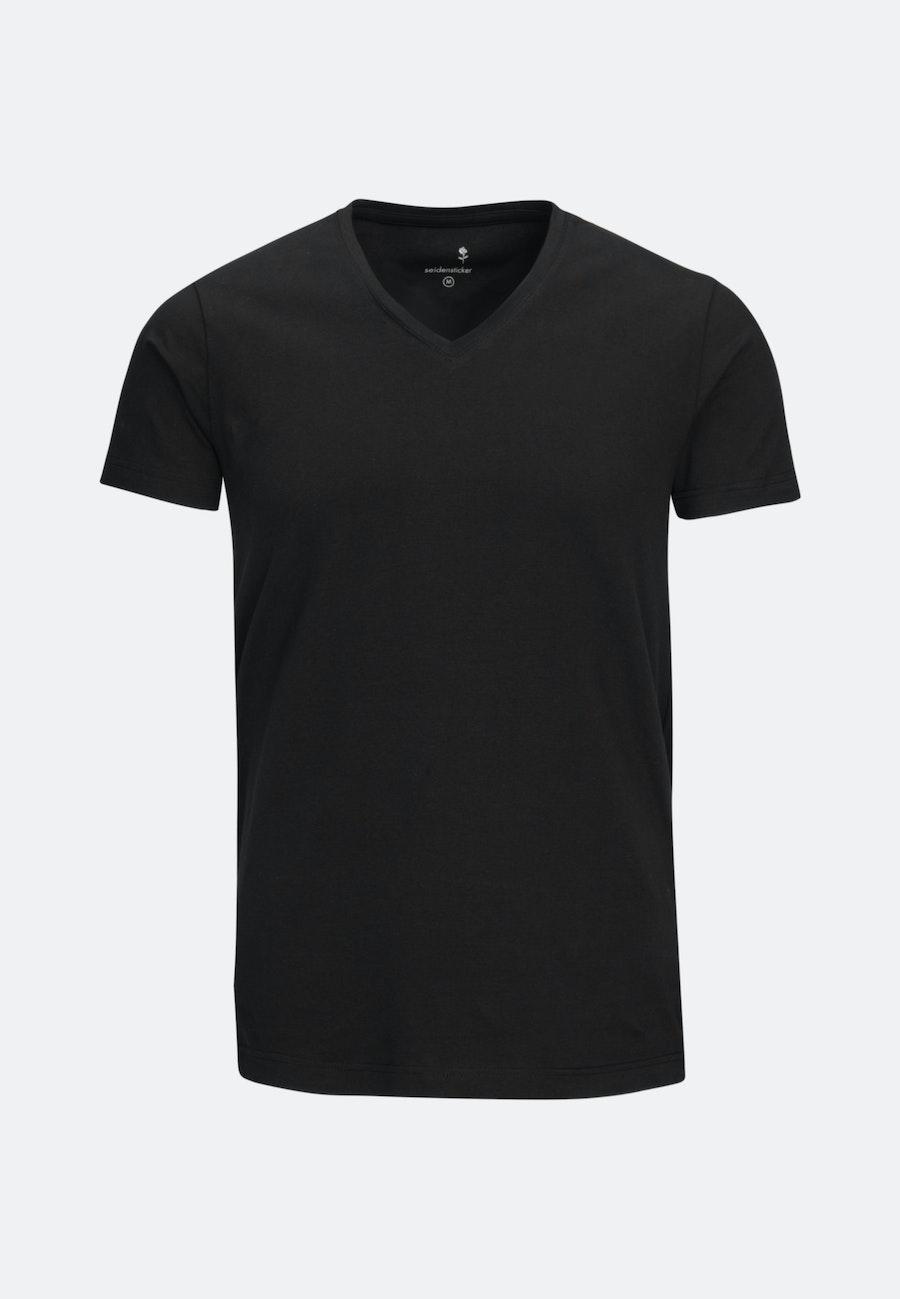 V-Neck T-Shirt aus Baumwollmischung in Schwarz |  Seidensticker Onlineshop
