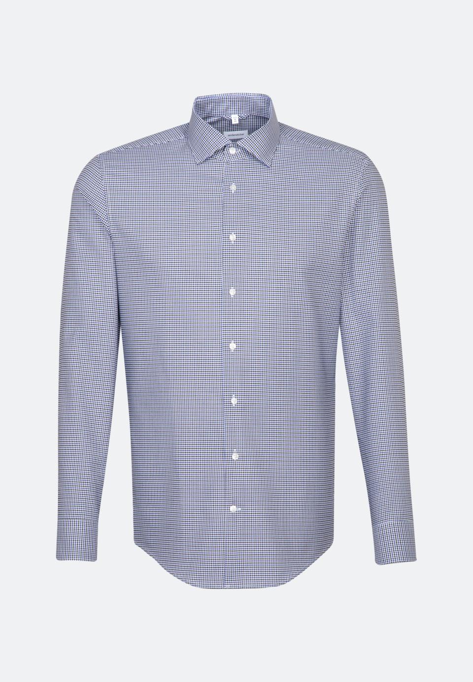 Bügelleichtes Dobby Twill Business Hemd in Slim mit Kentkragen in Mittelblau    Seidensticker Onlineshop