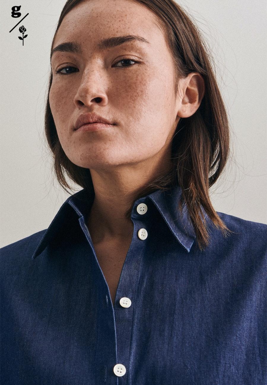 Denim Long Blouse made of 100% Cotton in Dark blue |  Seidensticker Onlineshop