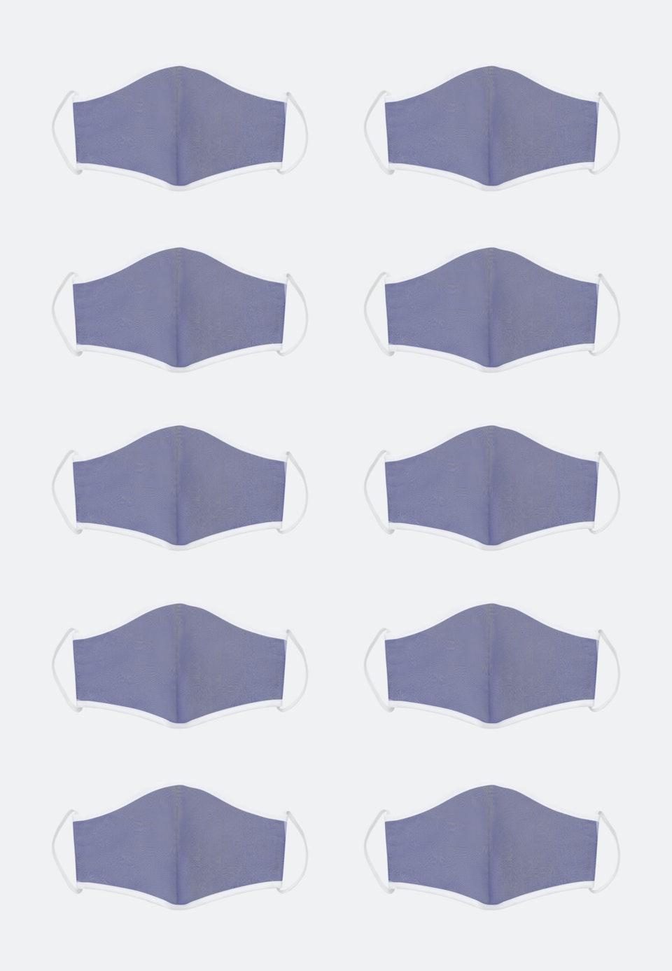 10er-Pack Mund-Nasen-Masken aus 100% Baumwolle in Mittelblau |  Seidensticker Onlineshop