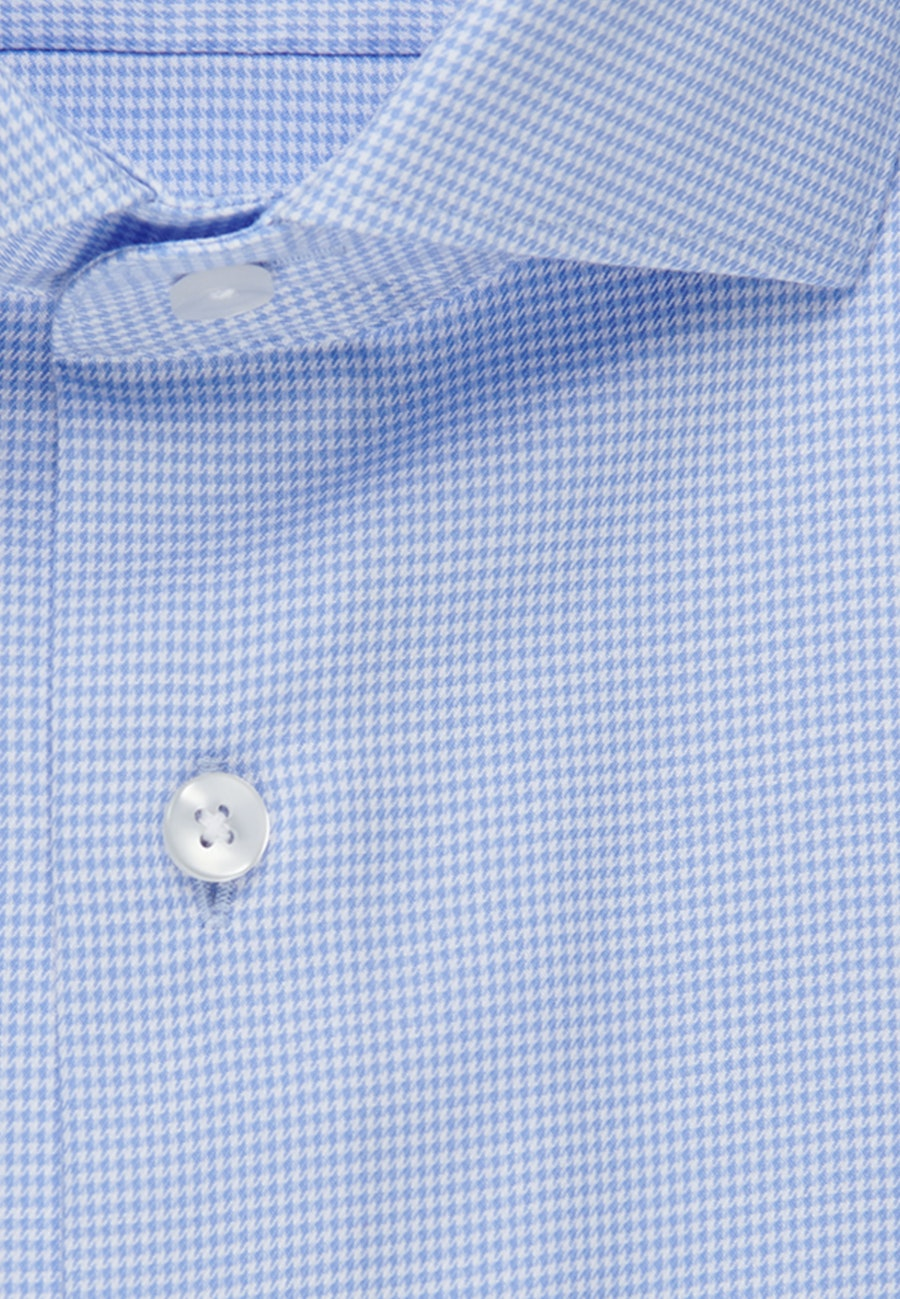 Easy-iron Pepita Business Shirt in Slim with Kent-Collar in Light blue |  Seidensticker Onlineshop