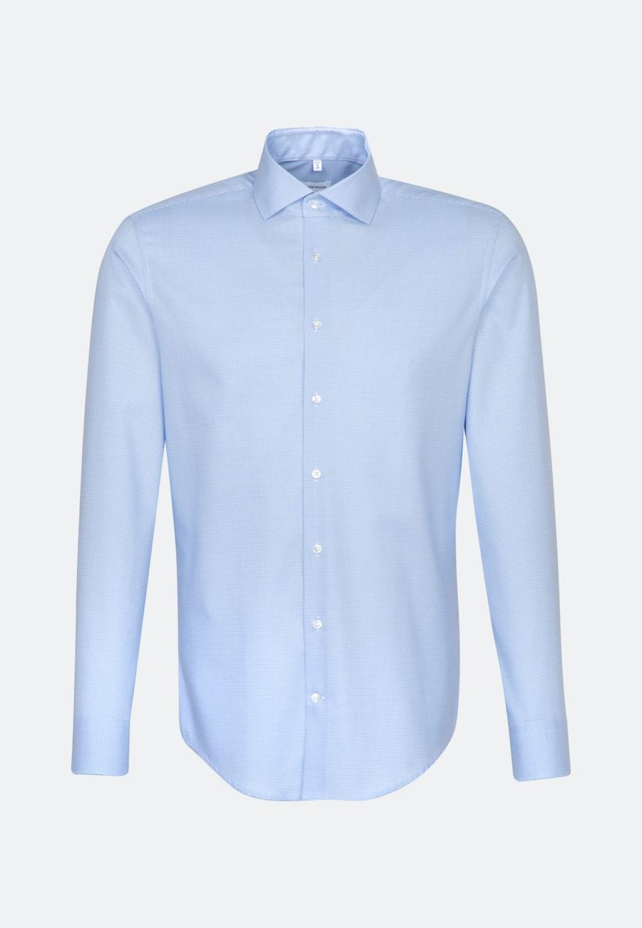 Bügelleichtes Pepita Business Hemd in Slim mit Kentkragen in Hellblau    Seidensticker Onlineshop