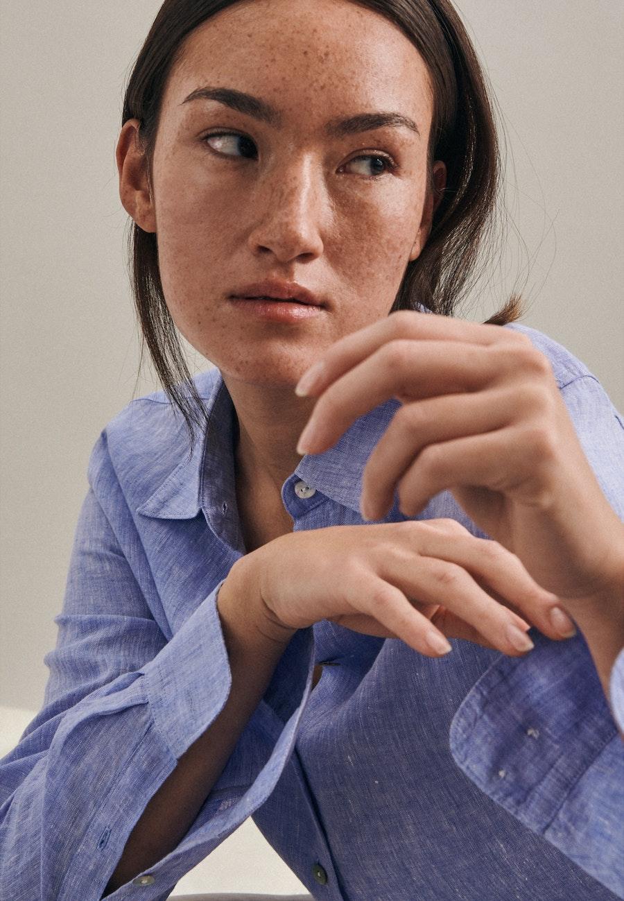 Leinen Shirt Blouse made of 100% Linen in Dark blue |  Seidensticker Onlineshop