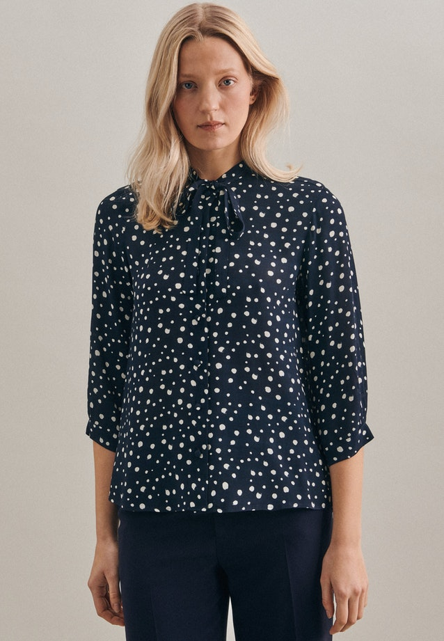 3/4 sleeve Krepp Stand-Up Blouse aus 100% Viscose in Dark blue |  Seidensticker Onlineshop