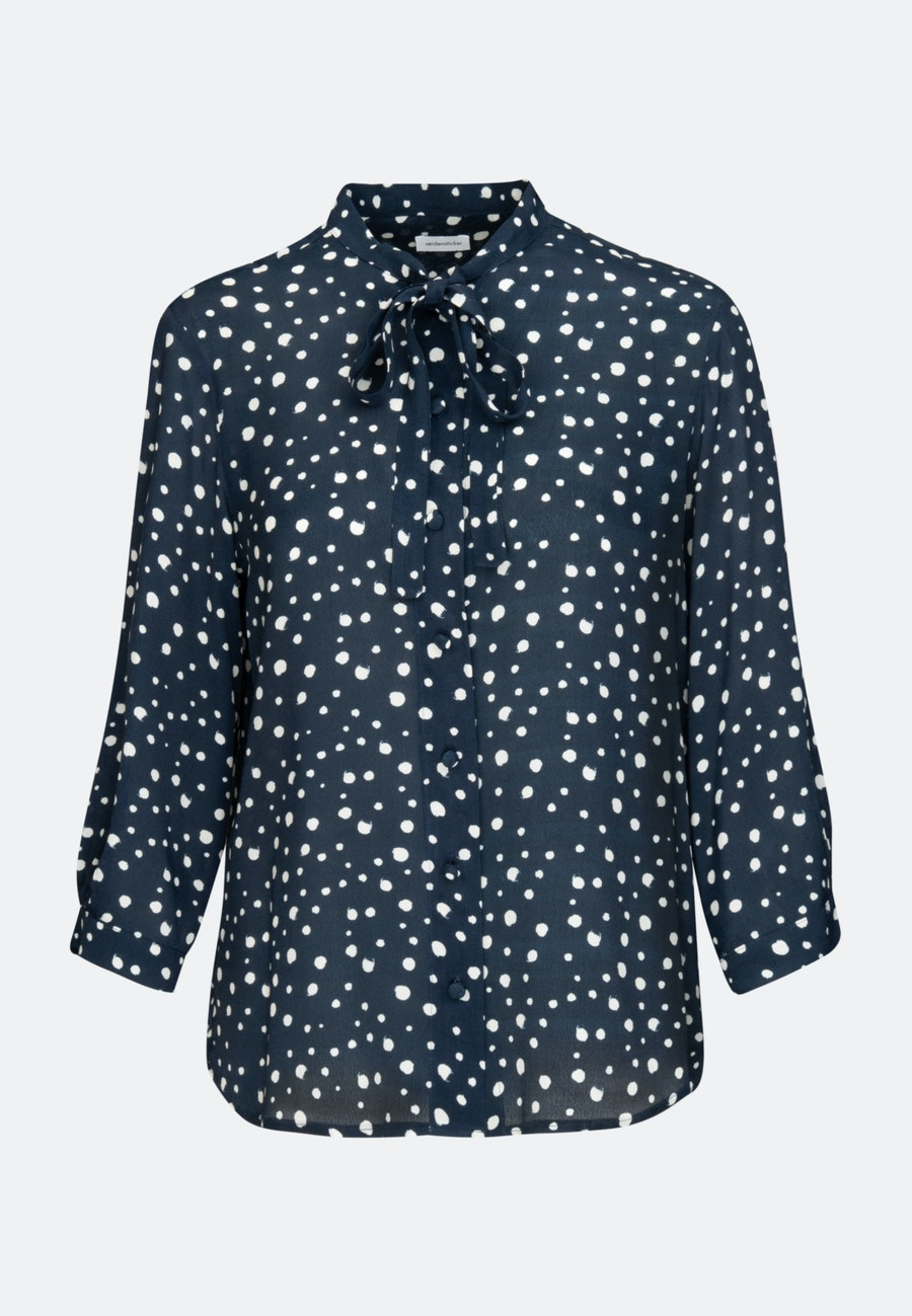 3/4 sleeve Krepp Stand-Up Blouse aus 100% Viscose in Dark blue |  Seidensticker Onlineshop