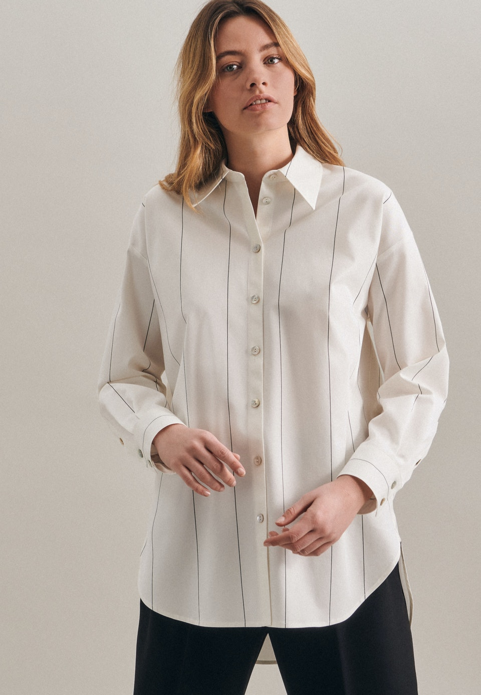 Twill Shirt Blouse made of cotton blend in Ecru |  Seidensticker Onlineshop