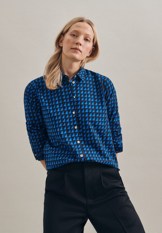 Popeline Shirt Blouse made of 100% Cotton in Dark blue |  Seidensticker Onlineshop
