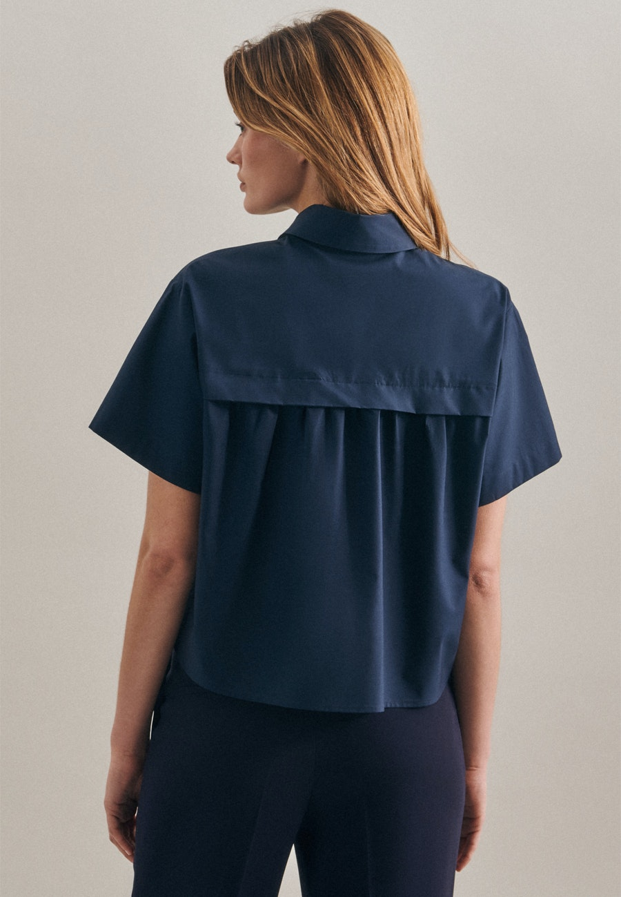 Kurzarm Popeline Hemdbluse aus 100% Baumwolle in Dunkelblau |  Seidensticker Onlineshop