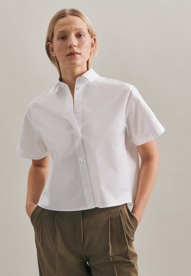 Short sleeve Popeline Shirt Blouse made of 100% Cotton in White |  Seidensticker Onlineshop
