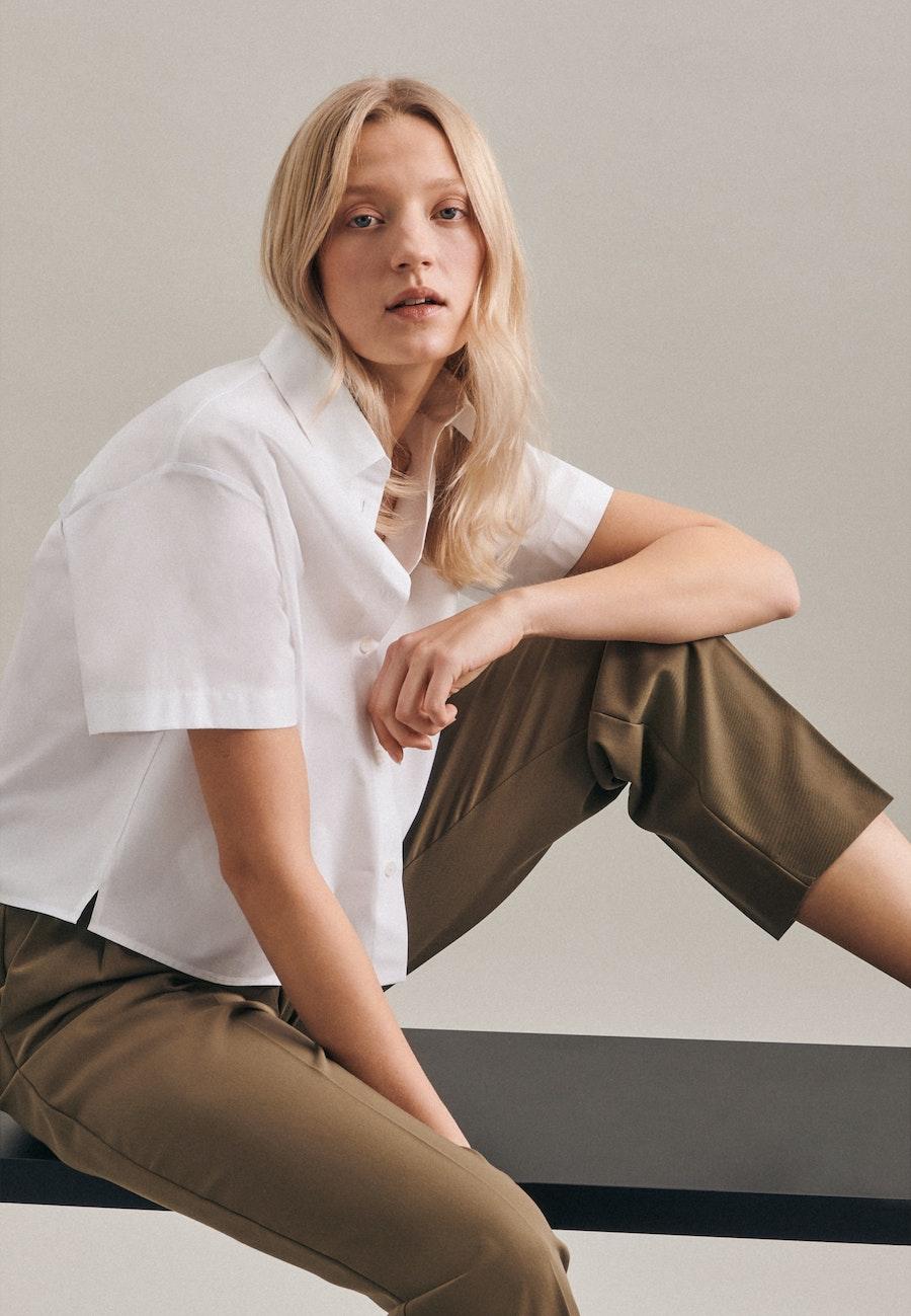 Short sleeve Poplin Shirt Blouse made of 100% Cotton in White |  Seidensticker Onlineshop