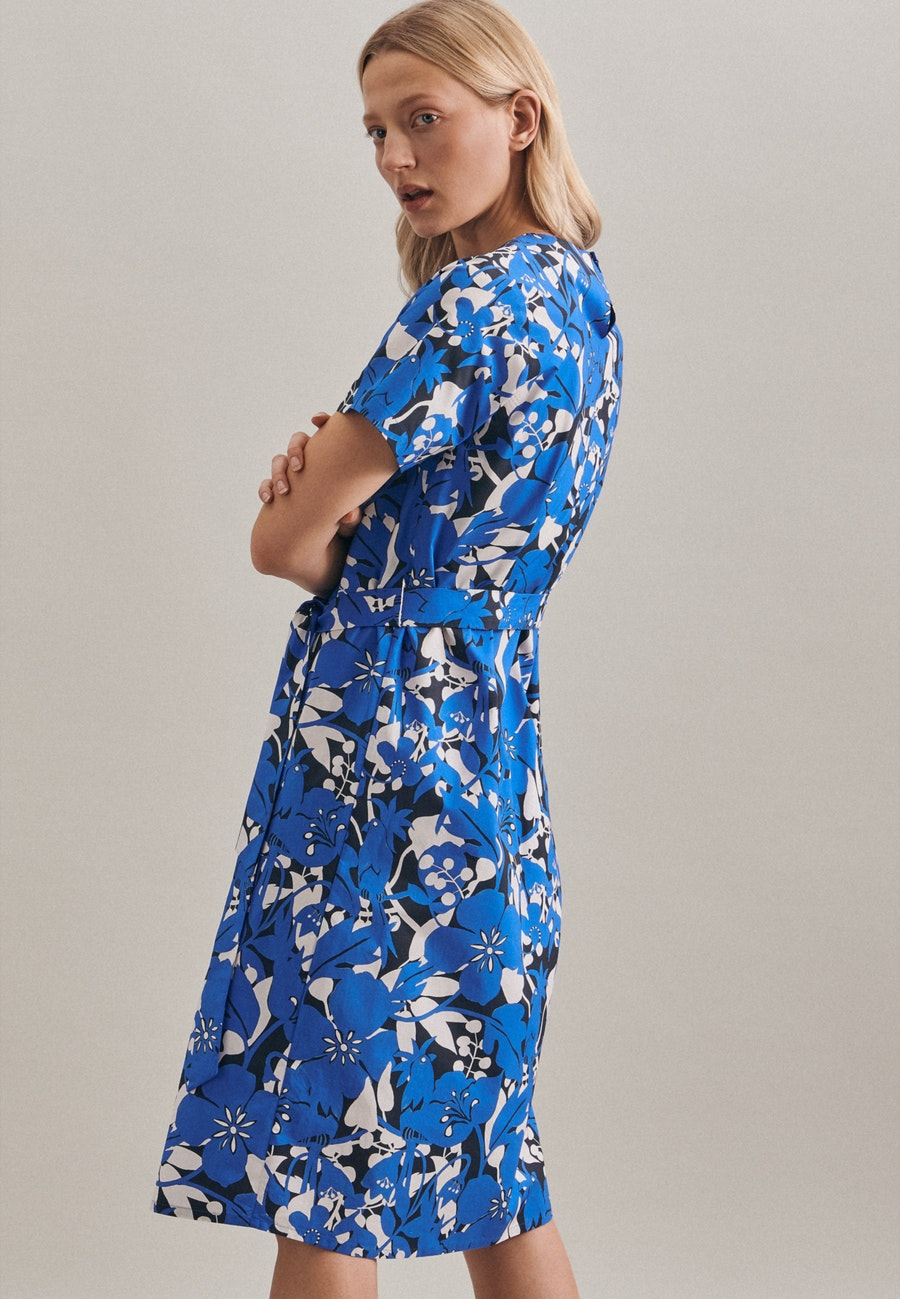 Popeline Midi Dress made of 100% Cotton in Medium blue |  Seidensticker Onlineshop