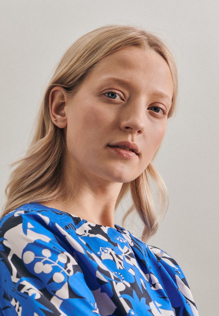 Popeline Midi Kleid aus 100% Baumwolle in Mittelblau    Seidensticker Onlineshop