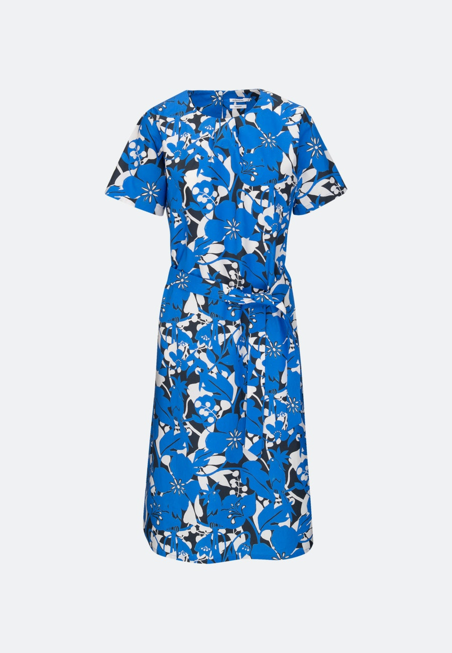 Popeline Midi Kleid aus 100% Baumwolle in Mittelblau |  Seidensticker Onlineshop