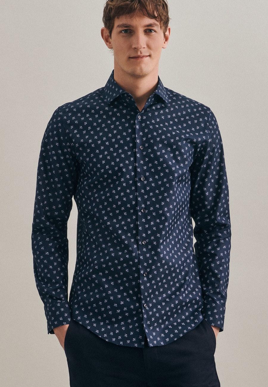 Bügelleichtes Oxford Business Hemd in Slim mit Kentkragen in Dunkelblau    Seidensticker Onlineshop