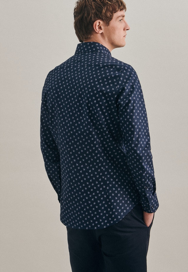 Easy-iron Oxford Business Shirt in Slim with Kent-Collar in Dark blue |  Seidensticker Onlineshop