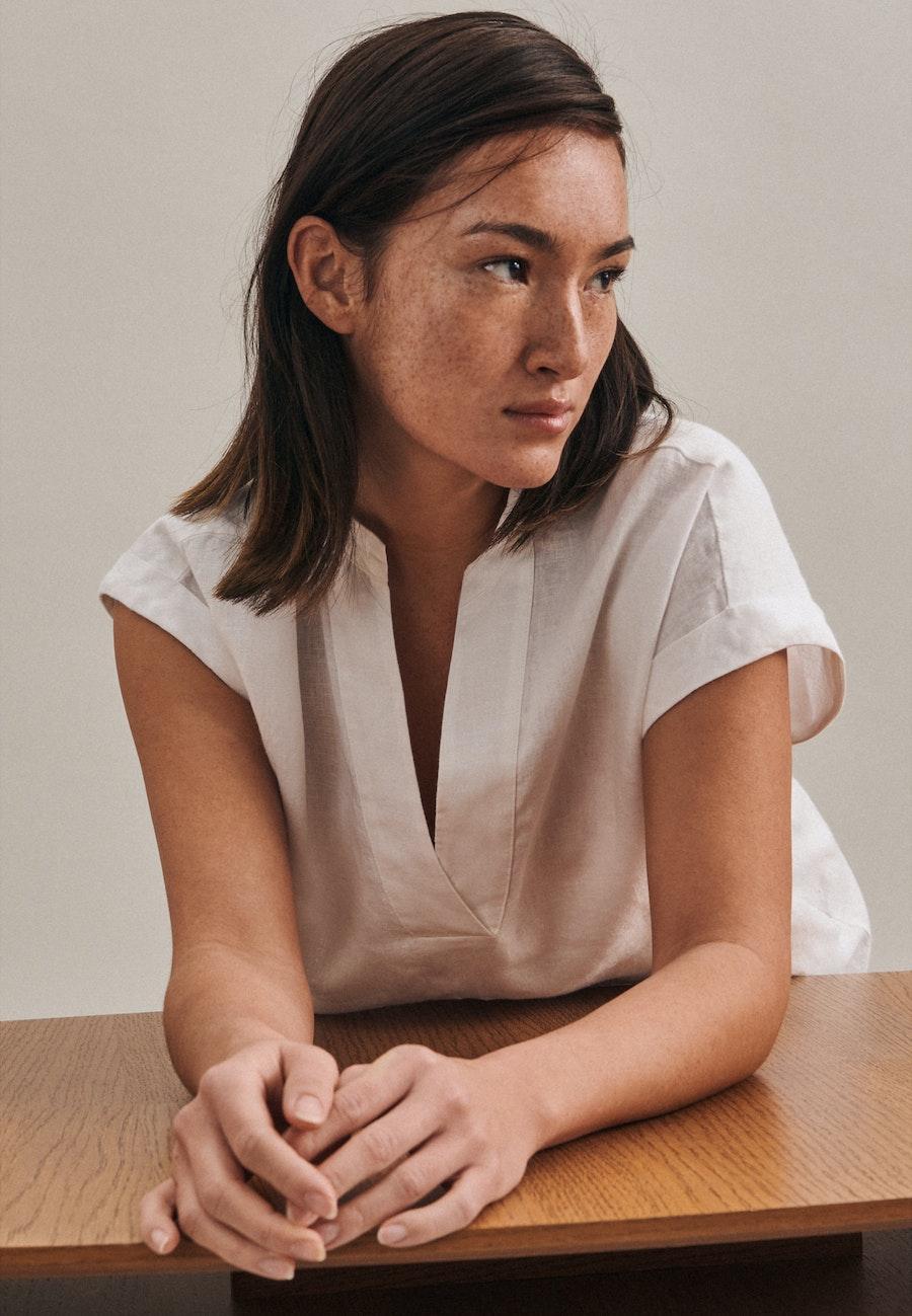 Leinen Midi Kleid aus 100% Leinen in Weiß |  Seidensticker Onlineshop