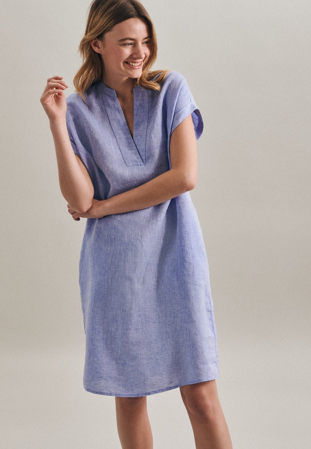 Sleeveless Leinen Midi Dress made of 100% Linen in Medium blue |  Seidensticker Onlineshop