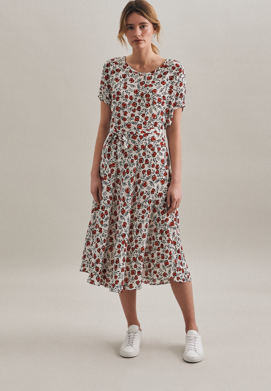 Krepp Midi Dress made of 100% Viscose in Ecru |  Seidensticker Onlineshop