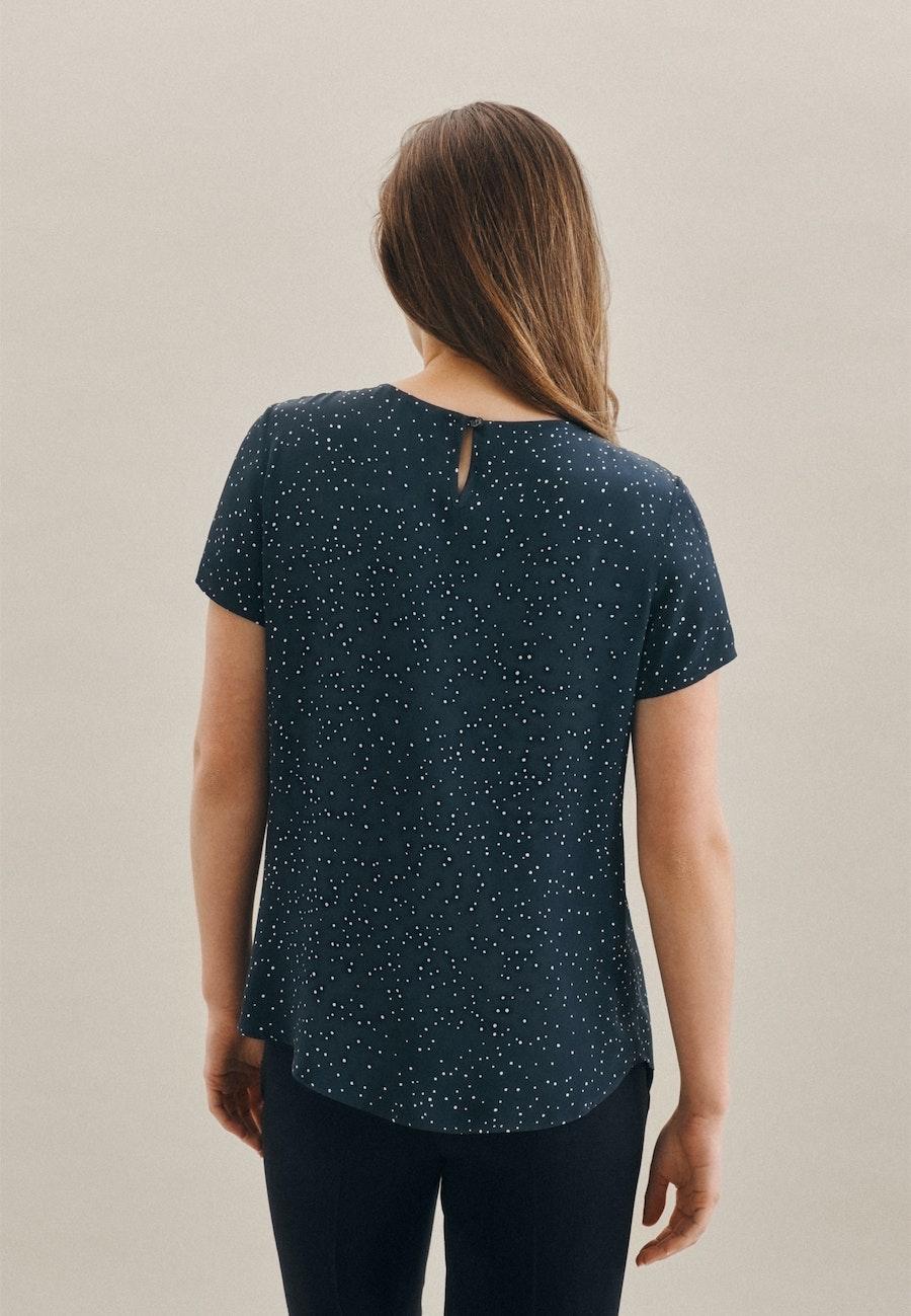 Short sleeve Popeline Shirt Blouse made of 100% Viscose in Dark blue |  Seidensticker Onlineshop