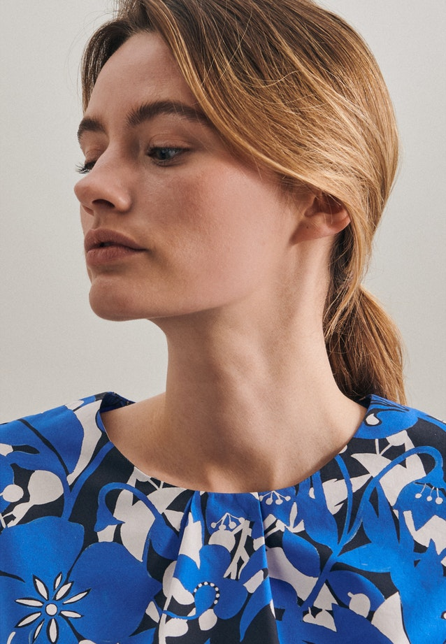 Kurzarm Popeline Shirtbluse aus 100% Baumwolle in Mittelblau |  Seidensticker Onlineshop
